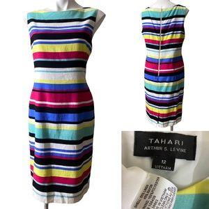 Tahari ASL 12 striped linen blend sheath dress